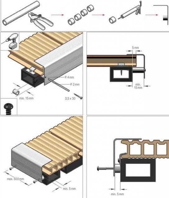 Плашки для торцов декинга - схема создания дорожки