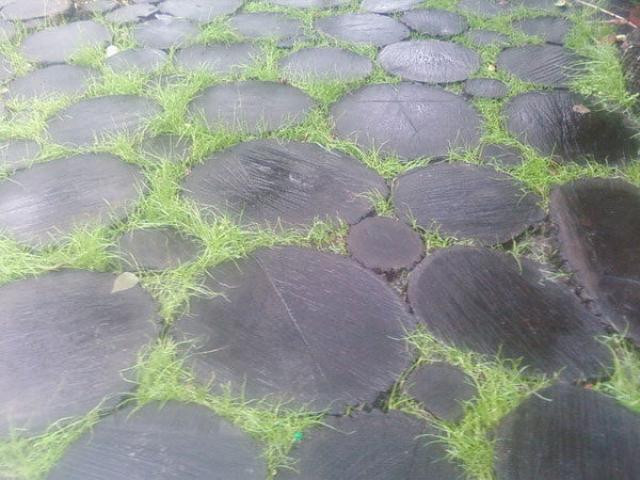 Дорожка из черных деревянных кругов с зеленой травой